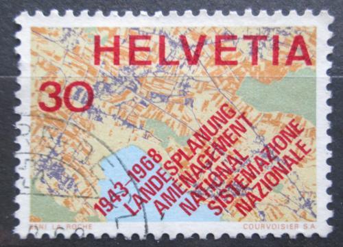 Poštovní známka Švýcarsko 1968 Mapa Mi# 889