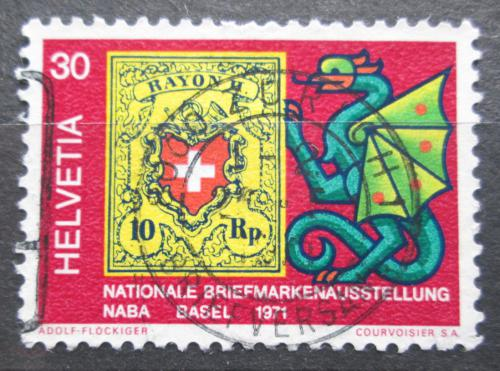 Poštovní známka Švýcarsko 1971 Poštovní známka a drak Mi# 943