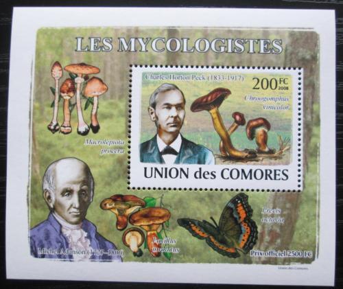 Poštovní známka Komory 2009 Houby a mykologové DELUXE Mi# 2051 Block