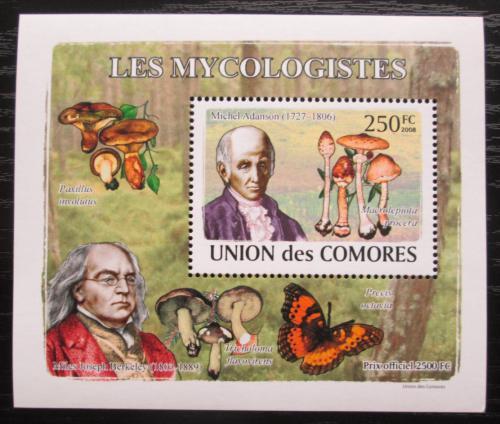 Poštovní známka Komory 2009 Houby a mykologové DELUXE Mi# 2052 Block