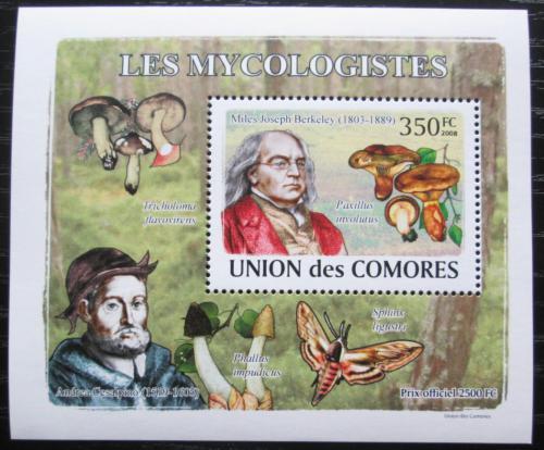 Poštovní známka Komory 2009 Houby a mykologové DELUXE Mi# 2053 Block