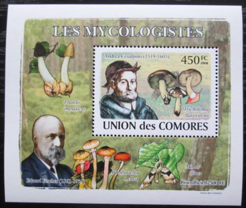 Poštovní známka Komory 2009 Houby a mykologové DELUXE Mi# 2054 Block