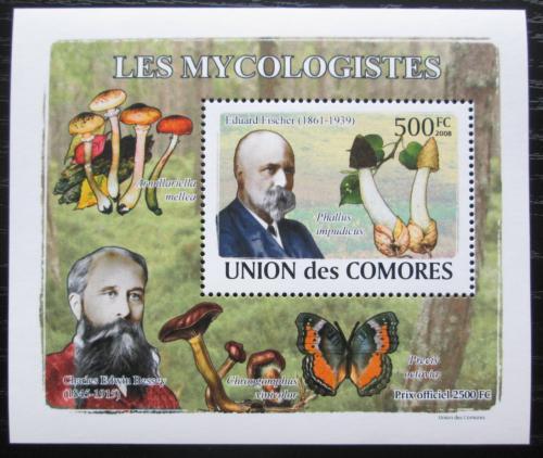 Poštovní známka Komory 2009 Houby a mykologové DELUXE Mi# 2055 Block
