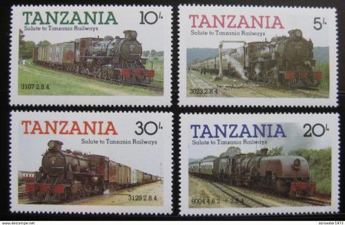 Poštovní známky Tanzánie 1985 Lokomotivy Mi# 268-71