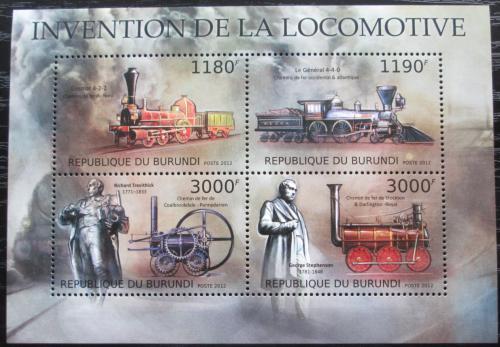 Poštovní známky Burundi 2012 Staré parní lokomotivy Mi# 2938-41 Kat 10€