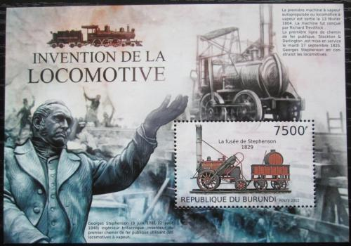 Poštovní známka Burundi 2012 Staré parní lokomotivy Mi# Block 312 Kat 9€
