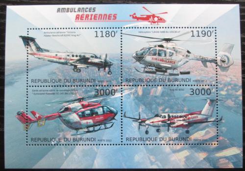 Poštovní známky Burundi 2012 Letecká záchranná služba Mi# 2953-56 Kat 10€