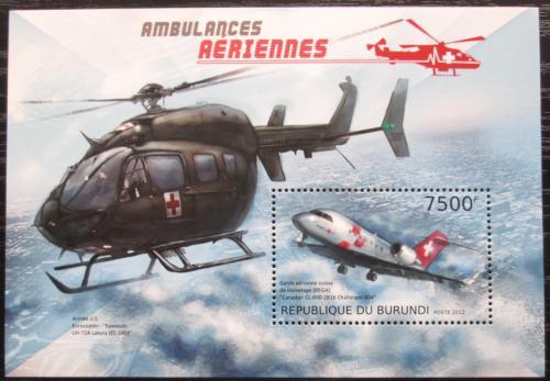 Poštovní známka Burundi 2012 Letecká záchranná služba Mi# Block 315 Kat 9€