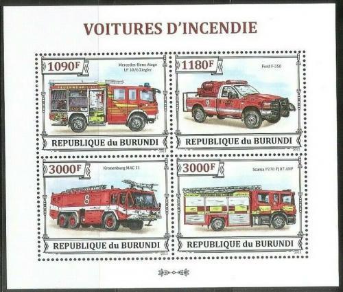 Poštovní známky Burundi 2013 Hasièská auta Mi# 3298-3301 Kat 10€