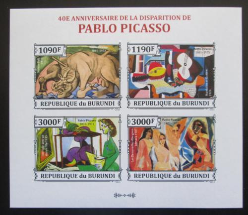 Poštovní známky Burundi 2013 Umìní, Pablo Picasso neperf. Mi# 3313-16 B