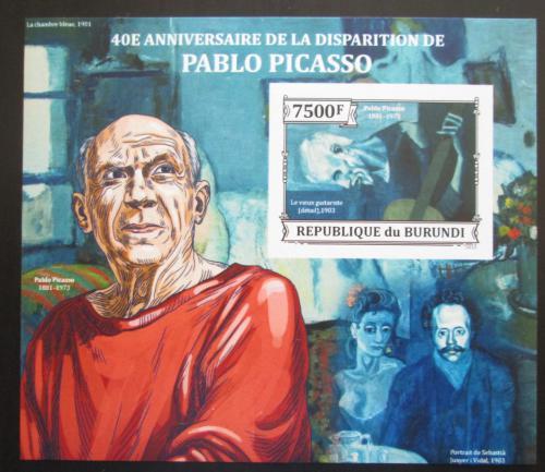 Poštovní známka Burundi 2013 Umìní, Pablo Picasso neperf. Mi# Block 387 B
