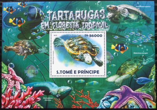 Poštovní známka Svatý Tomáš 2015 Želvy Mi# Block 1080 Kat 8.50€