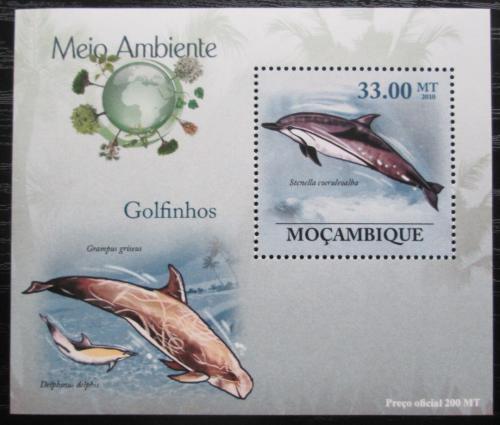 Poštovní známka Mosambik 2010 Delfíni DELUXE Mi# 3611 Block