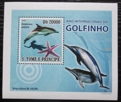 Poštovní známka Svatý Tomáš 2008 Delfíni DELUXE Mi# 3667 Block