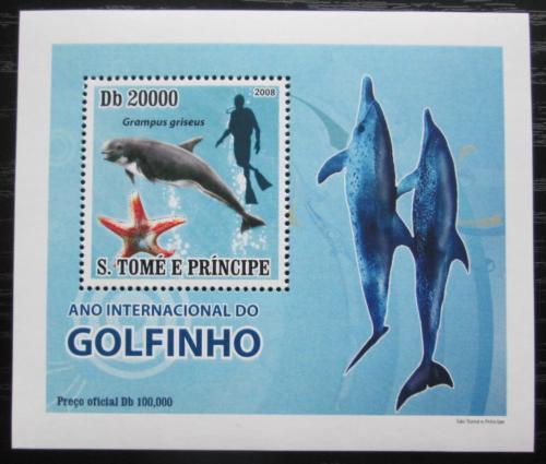 Poštovní známka Svatý Tomáš 2008 Delfíni DELUXE Mi# 3668 Block