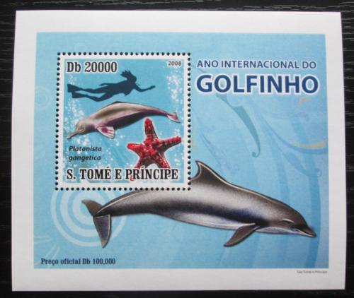 Poštovní známka Svatý Tomáš 2008 Delfíni DELUXE Mi# 3669 Block
