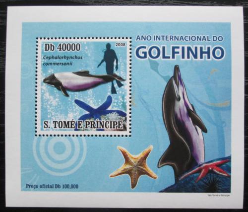 Poštovní známka Svatý Tomáš 2008 Delfíni DELUXE Mi# 3670 Block