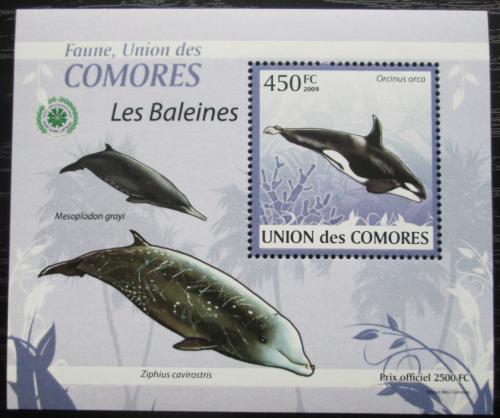 Poštovní známka Komory 2009 Velryby DELUXE Mi# 2452 Block