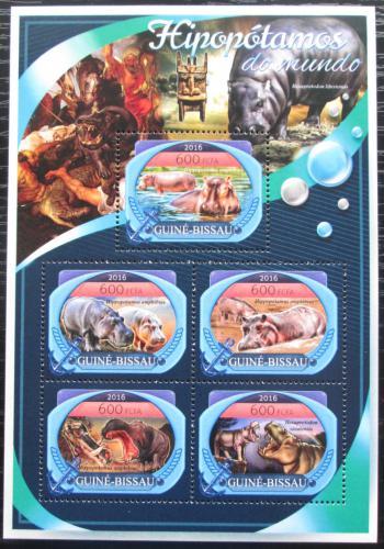 Poštovní známky Guinea-Bissau 2016 Hroši Mi# 8937-41 Kat 11€