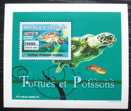 Poštovní známka Guinea 2007 Ryby a želvy DELUXE Mi# 4676 Block