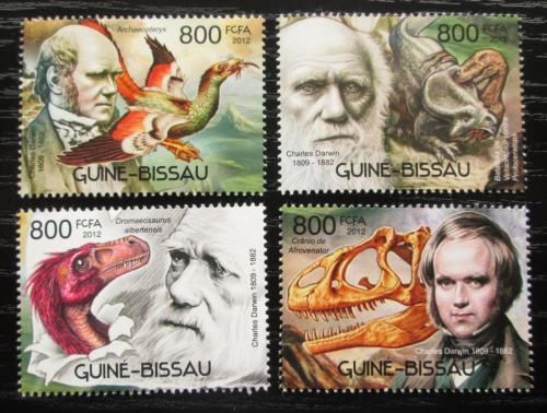 Poštovní známky Guinea-Bissau 2012 Charles Darwin, dinosauøi Mi# 6047-50 Kat 14€