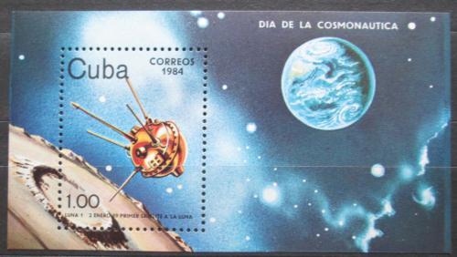 Poštovní známka Kuba 1984 Satelit Luna 1 Mi# Block 81