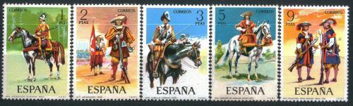 Poštovní známky Španìlsko 1974 Vojenské uniformy Mi# 2062-66