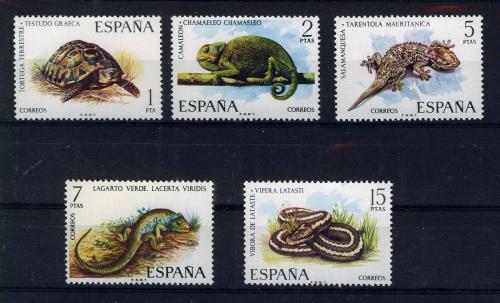 Poštovní známky Španìlsko 1974 Obojživelníci a plazi Mi# 2087-91