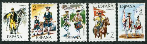 Poštovní známky Španìlsko 1974 Vojenské uniformy Mi# 2092-96