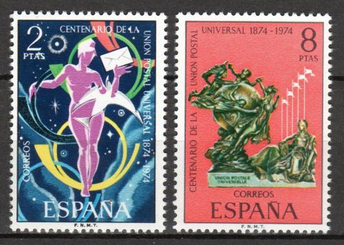 Poštovní známky Španìlsko 1974 UPU, 100. výroèí Mi# 2106-07