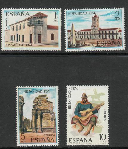 Poštovní známky Španìlsko 1974 Historie Argentiny Mi# 2108-11