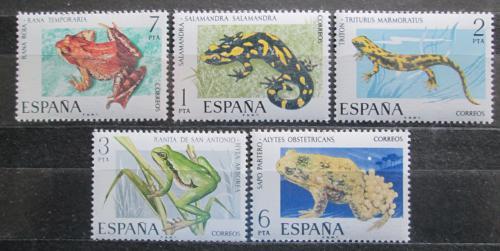 Poštovní známky Španìlsko 1975 Ještìrky a žáby Mi# 2164-68