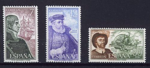 Poštovní známky Španìlsko 1976 Lodì a moøeplavci Mi# 2201-03