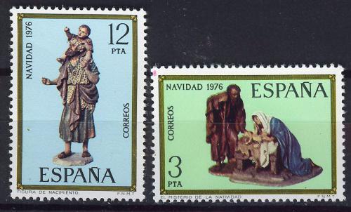 Poštovní známky Španìlsko 1976 Vánoce, sochy Mi# 2261-62