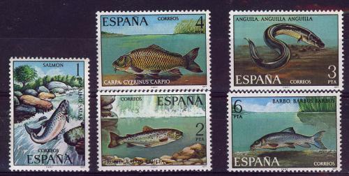 Poštovní známky Španìlsko 1977 Sladkovodní ryby Mi# 2289-93