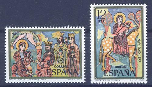 Poštovní známky Španìlsko 1977 Vánoce, umìní Mi# 2338-39