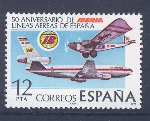 Poštovní známka Španìlsko 1977 Letadla Mi# 2340