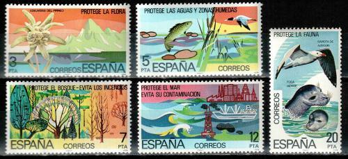 Poštovní známky Španìlsko 1978 Ochrana pøírody Mi# 2361-65