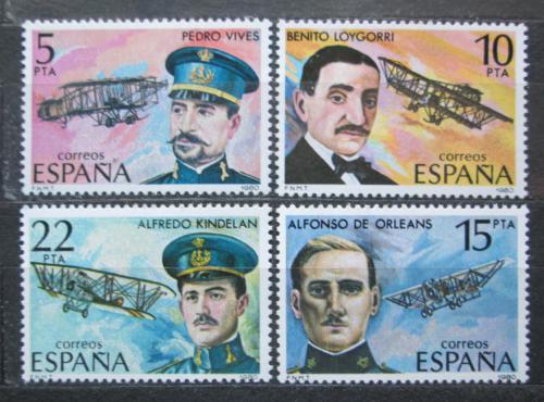 Poštovní známky Španìlsko 1980 Letadla a piloti Mi# 2485-88