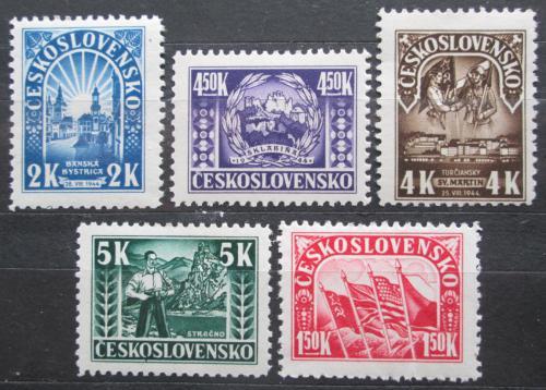 Poštovní známky Èeskoslovensko 1945 Slovenské národní povstání Mi# 455-59