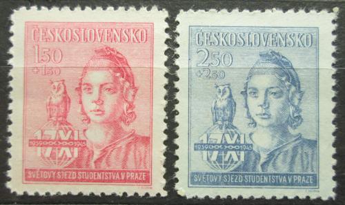Poštovní známky Èeskoslovensko 1945 Svìtový sjezd studenstva Mi# 476-77