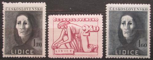 Poštovní známky Èeskoslovensko 1947 Vypálení Lidic, 5. výroèí Mi# 518-20