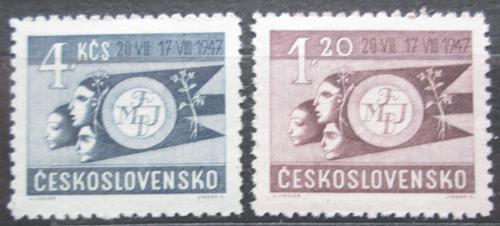 Poštovní známky Èeskoslovensko 1947 Mezinárodní hry mládeže Mi# 521-22