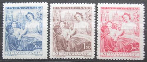 Poštovní známky Èeskoslovensko 1948 Všesokolský slet Mi# 532-34