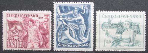 Poštovní známky Èeskoslovensko 1949 9. sjezd KSÈ Mi# 575-77