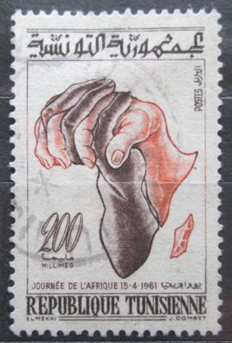 Poštovní známka Tunisko 1961 Mapa Afriky Mi# 579