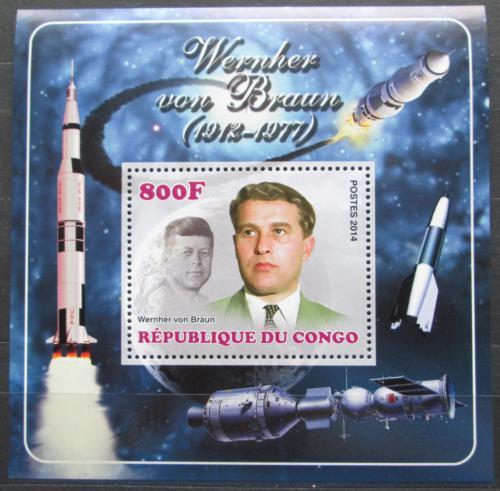 Poštovní známka Kongo 2014 Wernher von Braun, konstruktér DELUXE Mi# N/N