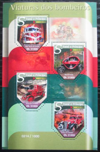 Poštovní známky Svatý Tomáš 2015 Hasièská auta Mi# 6455-58 Kat 12€