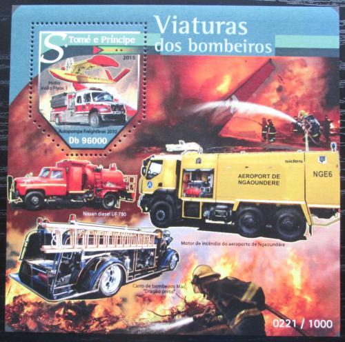 Poštovní známka Svatý Tomáš 2015 Hasièská auta Mi# Block 1144 Kat 10€