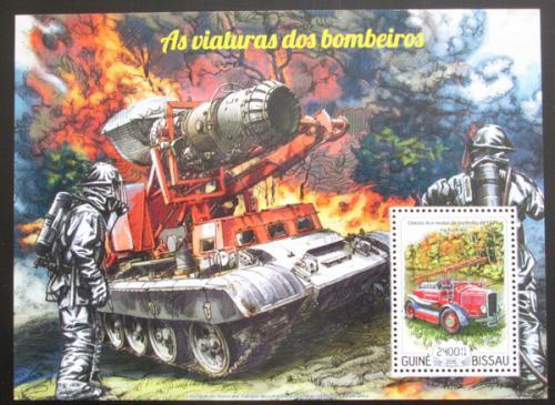 Poštovní známka Guinea-Bissau 2015 Hasièská technika Mi# Block 1338 Kat 9€